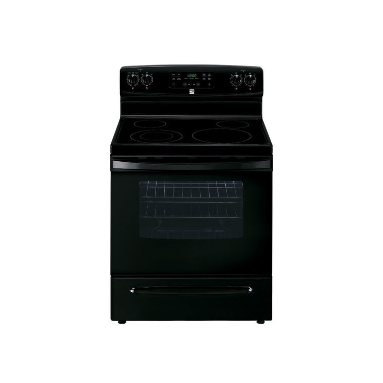 5.3 cu. ft. Electric Self Cleaning Oven with Ceramic Cooktop - Black