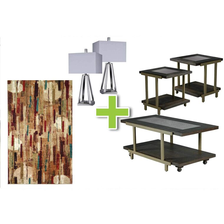 6-Piece Terrell Tables, Brushed Coal Lamps and Facet Rug Bundle