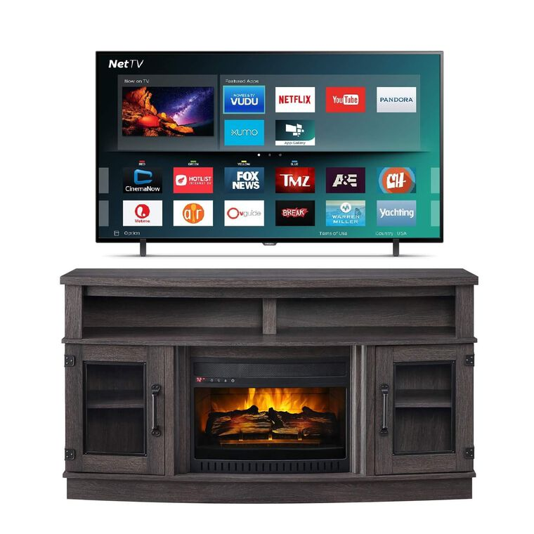 """55"""" Class Smart 4K UHD TV with 60"""" Fireplace TV Console"""