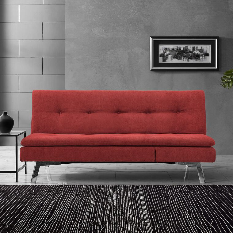 Chicago Cozy Crimson Convertible Sofa with Chaise