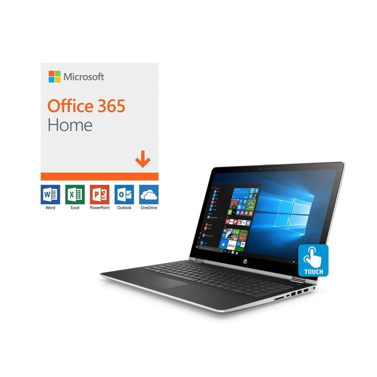 "Laptop Convertible x360 de 15.6"" con Microsoft Office 365 y Total Defense Internet Security"