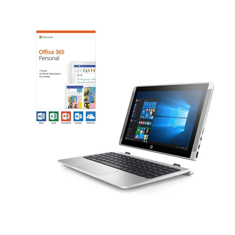"10"" 2-in-1 Detachable Laptop with Microsoft Office 365 Personal and Total Defense Internet Security"