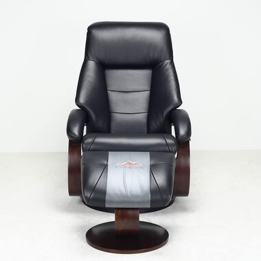 Mandal Leather Recliner & Ottoman - Black