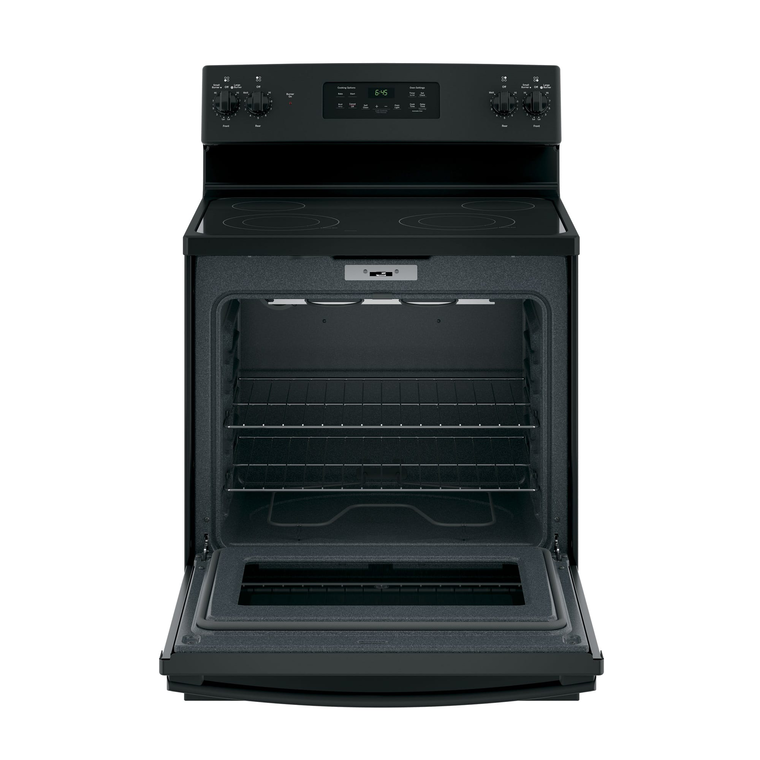 5.3 cu. ft. Self Cleaning Electric Range with Dual Power Boil Ceramic Cooktop - Black