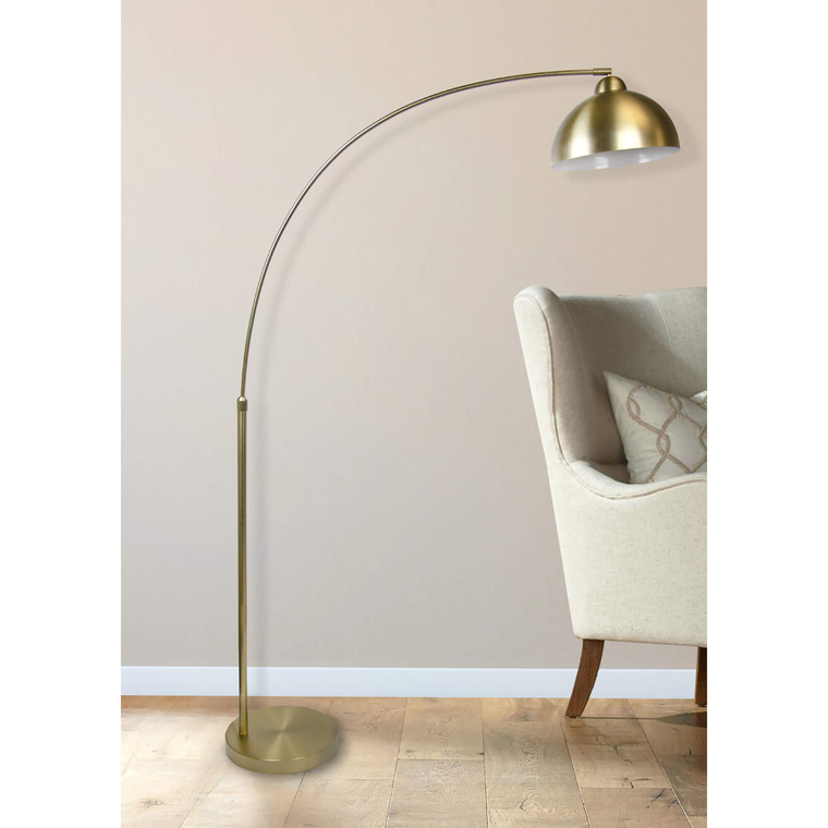 """68.5"""" Plated Gold Arc Floor Lamp"""