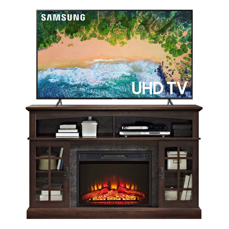 "55"" Class (54.6"" diagonal) Smart 4K UHD TV & 54"" Fireplace TV Console Bundle"