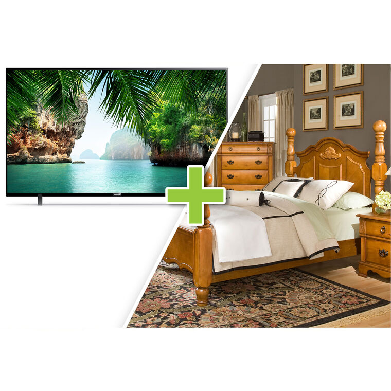 """50"""" Class 4K UHD Smart TV and 7-Piece Bryant Queen Bedroom Collection"""