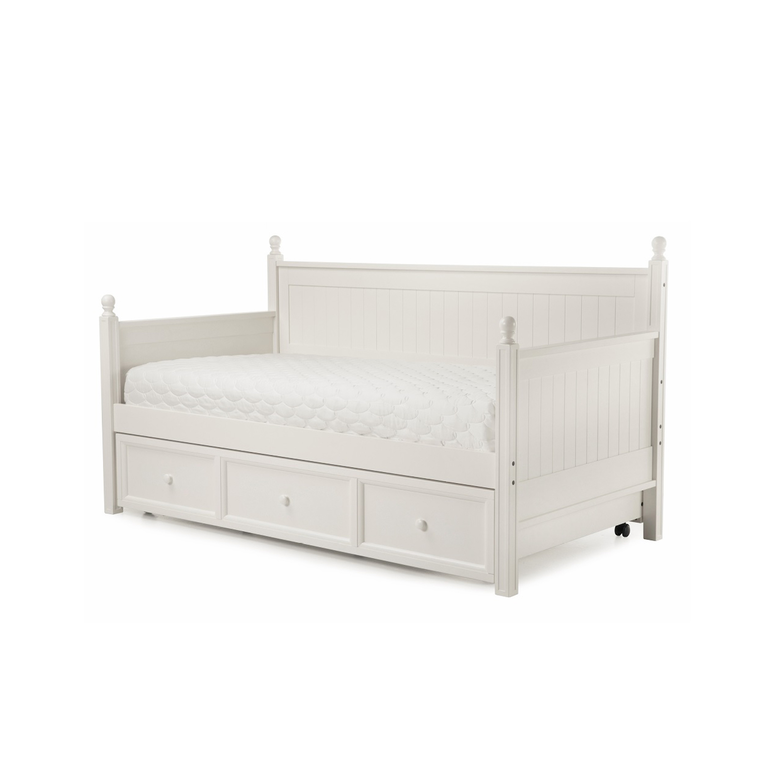 Casey II Wood Daybed with Ball Finials and Roll Out Trundle Drawer, White Finish, Twin | Tuggl