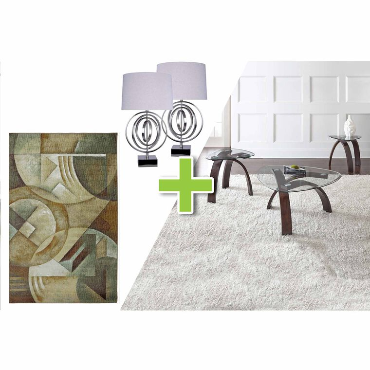6-Piece Pitman Tables, Brushed Nickel Lamps and Spheres of Thoughts Rug Bundle