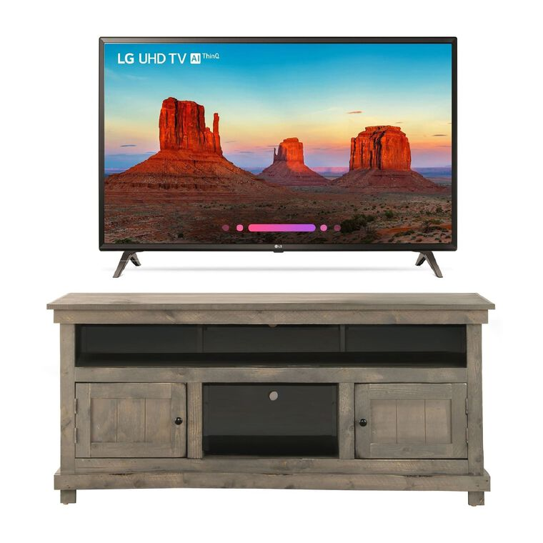 "65"" Class (64.5"" Diag.) Smart 4K UHD TV & 60"" Grey Rustic TV Stand Bundle"
