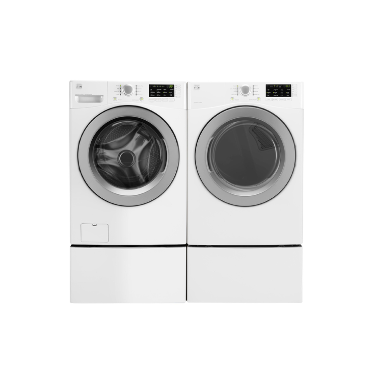 High Efficiency 4.8 cu. ft. Front-Load Washer & 7.0 cu. ft. Electric Dryer with Pedestals | Tuggl