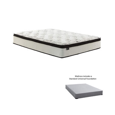 "12"" Euro Top Ultra Plush Queen Hybrid Boxed Mattress with 9"" Foundation & Protectors"