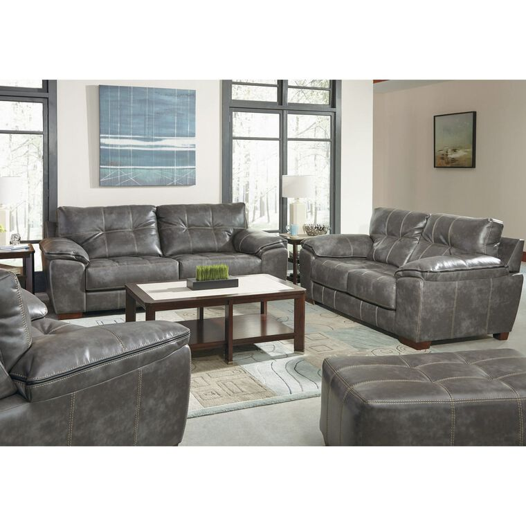 2-Piece Hudson Steel Sofa and Loveseat