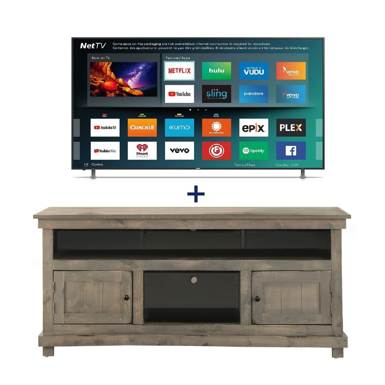"50"" Class (49.5"" Diag.) Smart 4K UHD TV & 60"" Grey Rustic TV Stand Bundle"