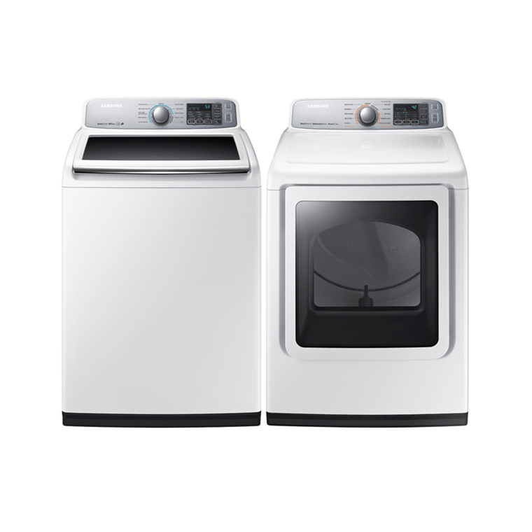 5.0 cu. ft. High Efficiency Top Load Washer & 7.4 cu. ft. Electric Steam Dryer | Tuggl
