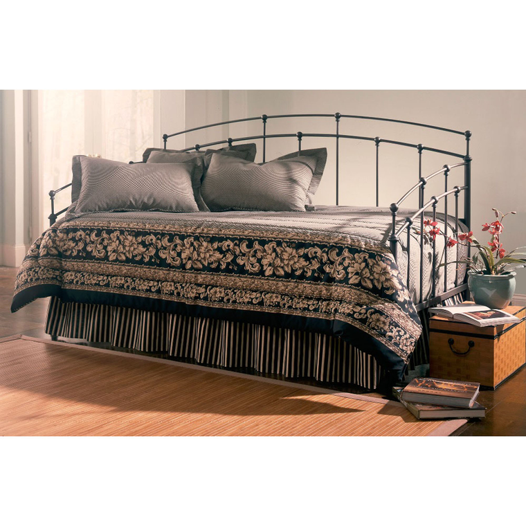 Fenton Complete Metal Daybed with Spindle Panels and Link Spring, Black Walnut Finish, Twin | Tuggl