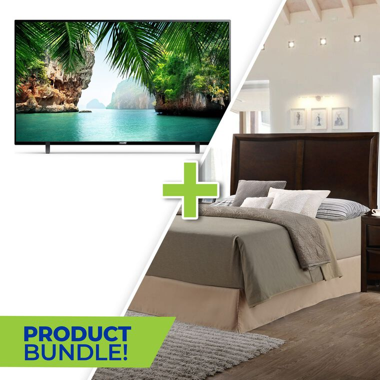 """50"""" Class 4K UHD Smart TV and 5-Piece Franklin Queen Bedroom Collection"""