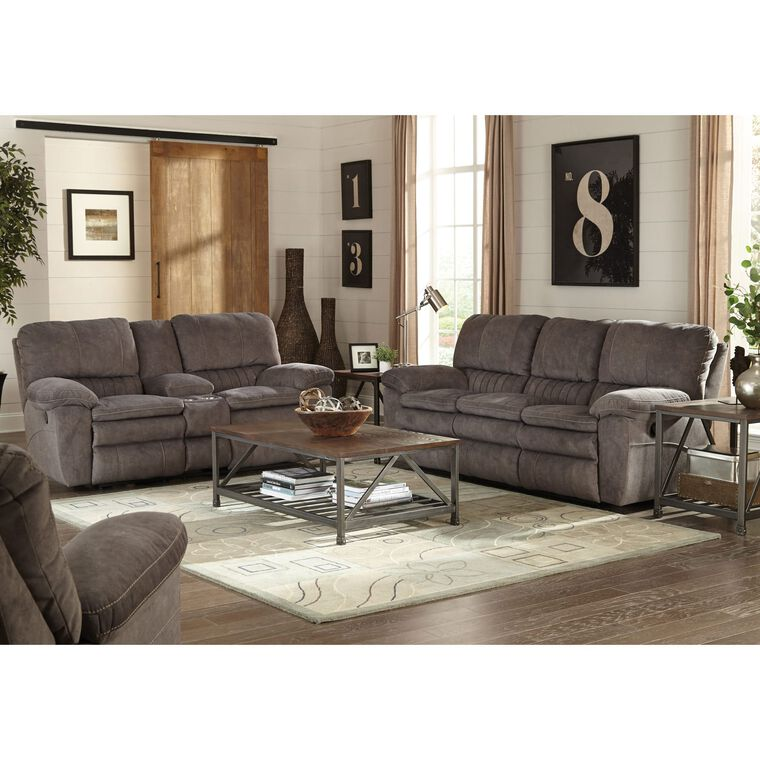 2-Piece Reyes Graphite Lay Flat Sofa & Loveseat