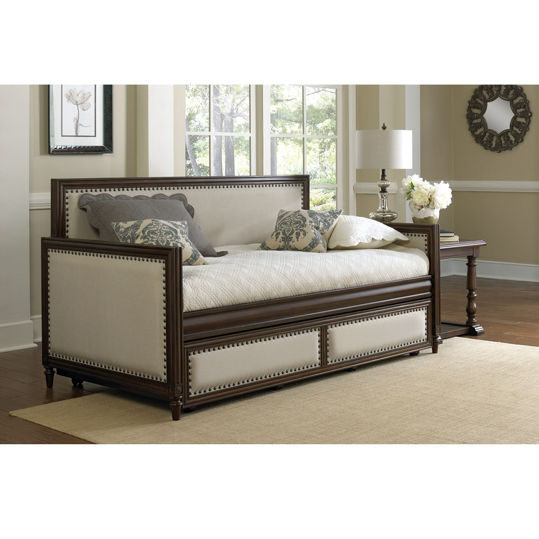 Grandover Wood Daybed with Cream Upholstered Panels and Roll Out Trundle Drawer