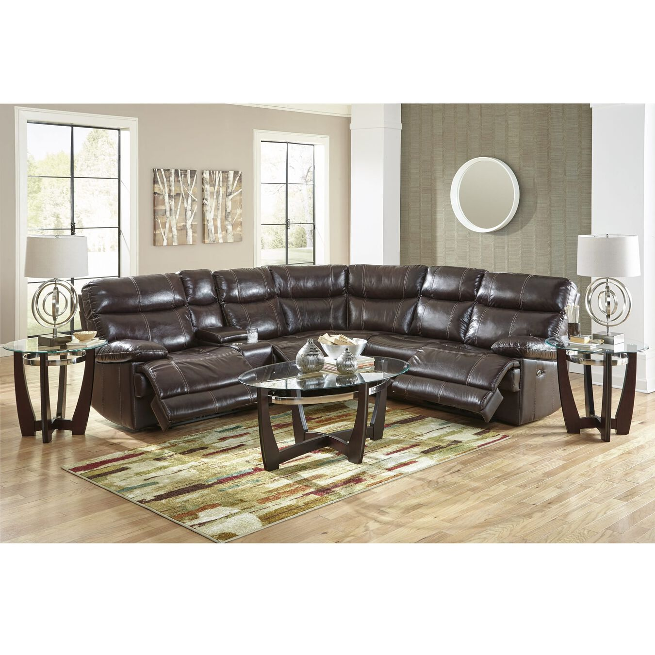 Happy leather sectional sets 3 piece navarro power reclining living room collection