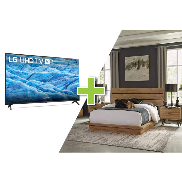 "43"" Class 4K UHD Smart TV and Irony Queen Bedroom Bundle"