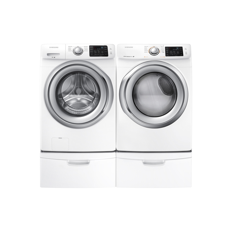 4.2 cu. ft. Front Load Steam Washer & 7.5 cu. ft. Gas Steam Dryer with Pedestals | Tuggl