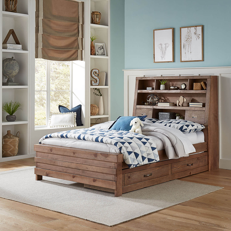 8-Piece Montana Full Captain's Bed with Mattresses and Trundle