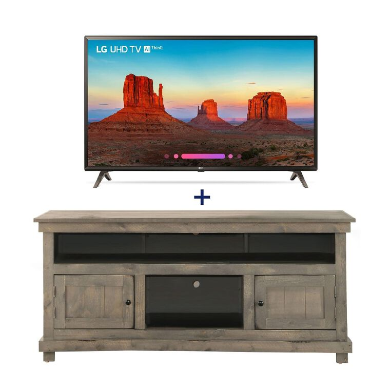 "49"" Class 4K UHD LED Smart TV & 60"" Grey Rustic TV Stand Bundle"
