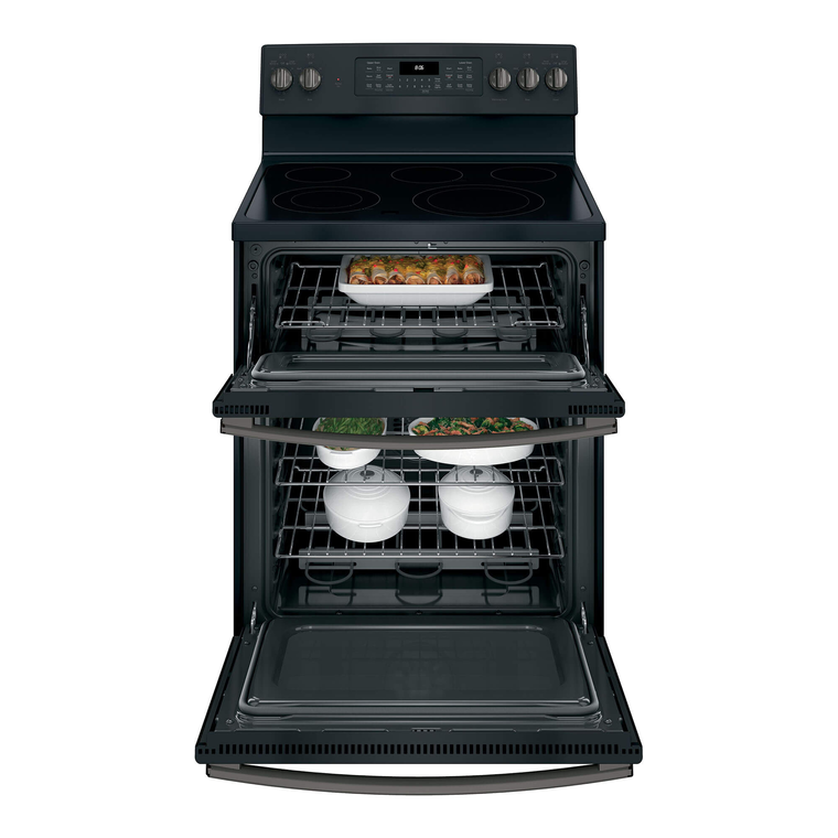 6.6 cu. ft. Self Cleaning Electric Double Oven Range with Ceramic Cooktop - Slate