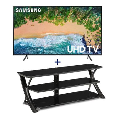 "65"" Class Smart 4K UHD TV & 65"" Contemporary TV Stand Bundle"