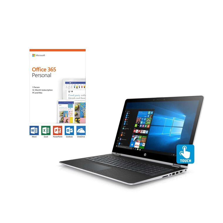 "15.6"" x360 Convertible Laptop with Microsoft Office 365 Personal and Total Defense Internet Security"
