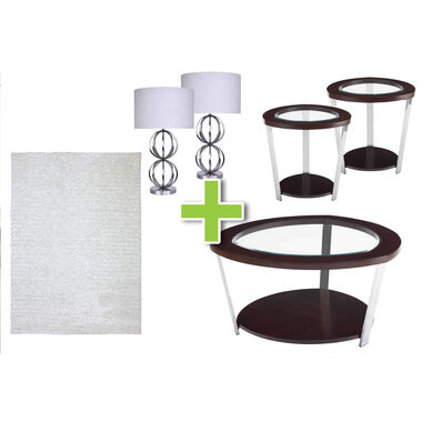 6-Piece Duncan Tables, Brushed Nickel Lamps and Spangle Ivory Rug Bundle