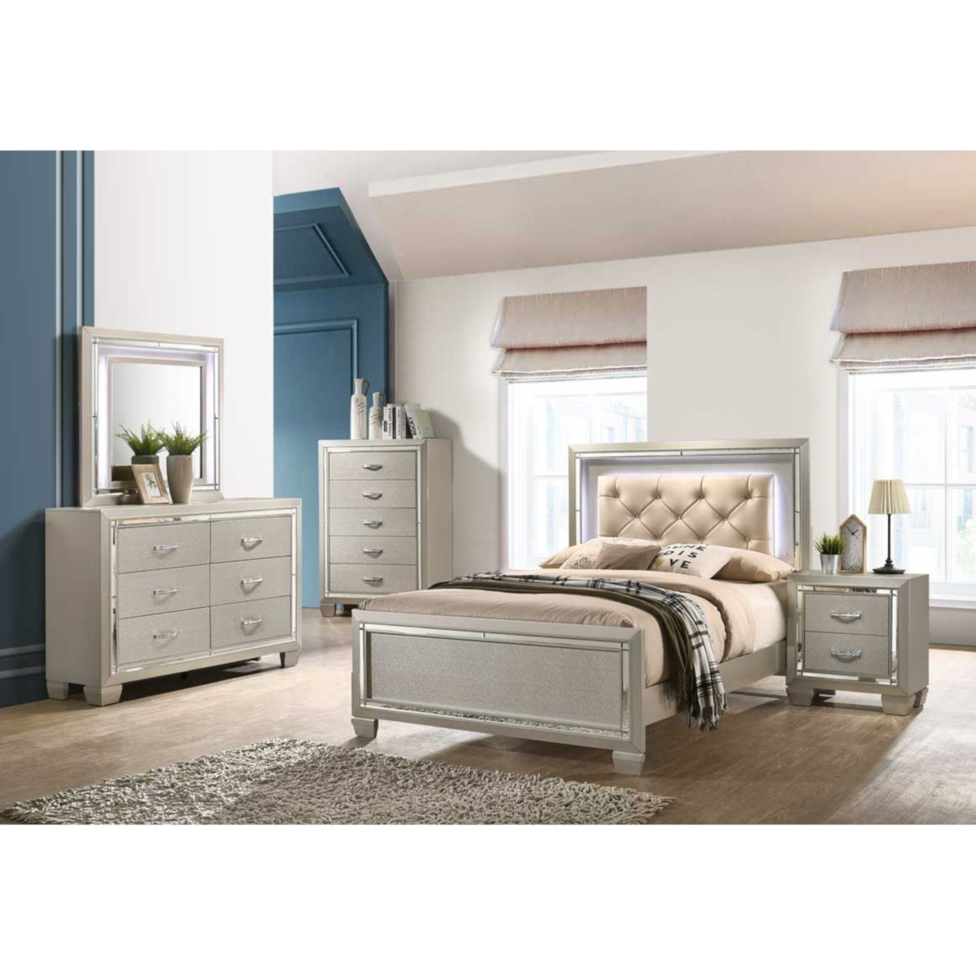 Rent To Own Elements International 7 Piece Platinum Twin Panel Bedroom Set At Aaron S Today
