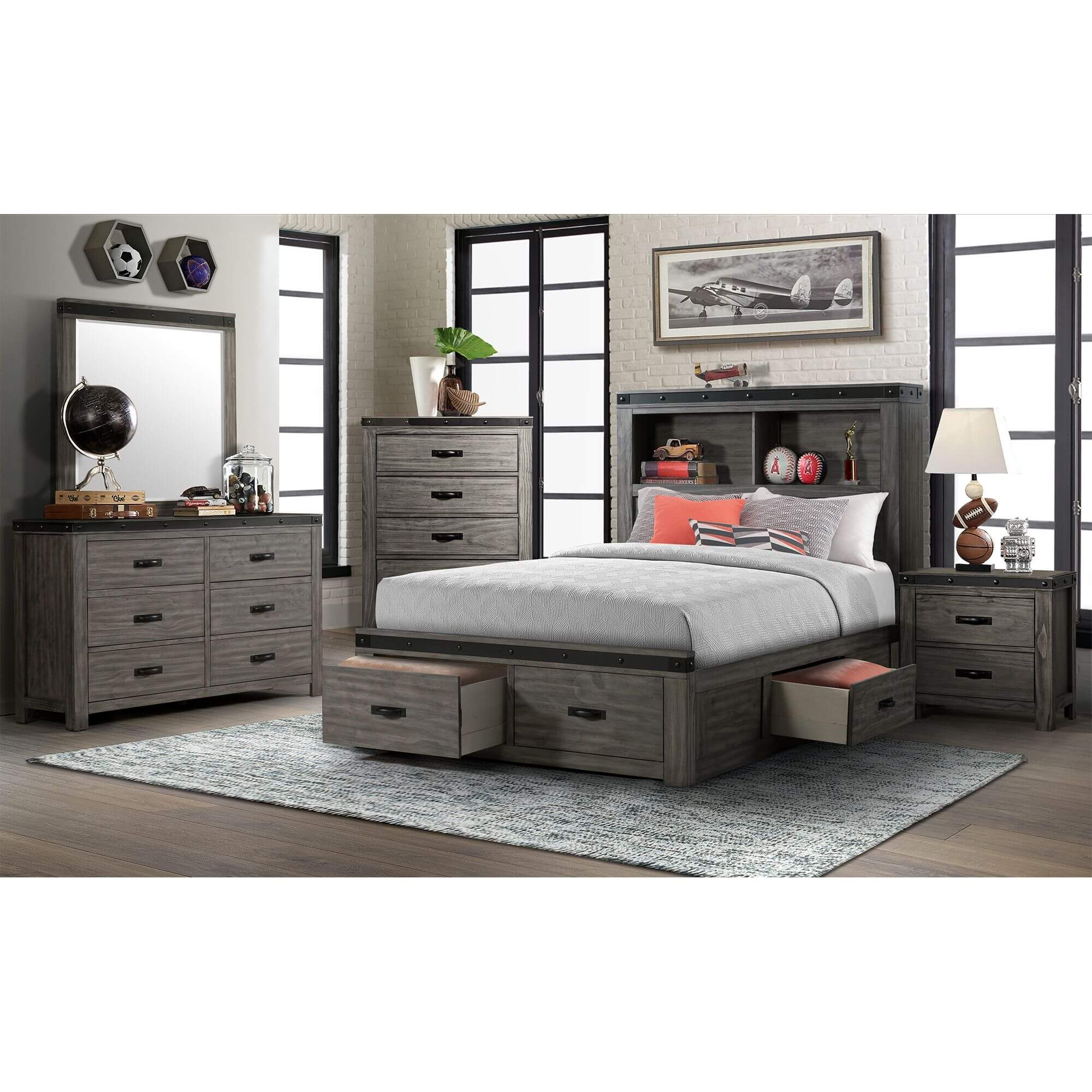 Image of: Rent To Own Elements International 5 Piece Wade Full Storage Bedroom At Aaron S Today