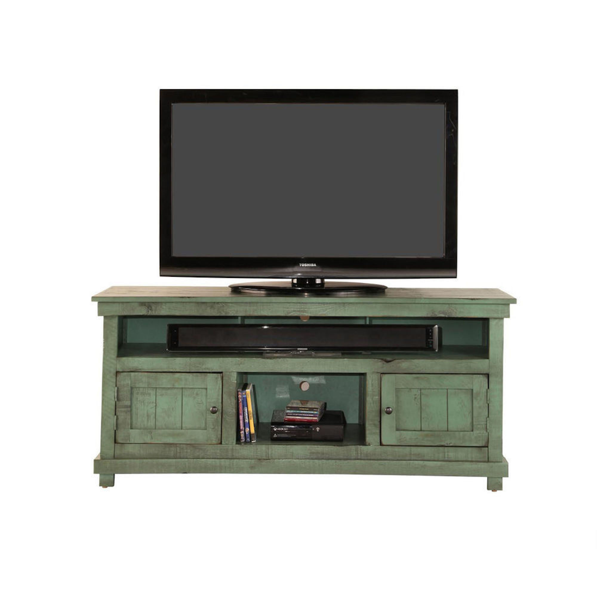 Rent To Own Whalen 60 Rustic Tv Stand Green At Aaron S Today