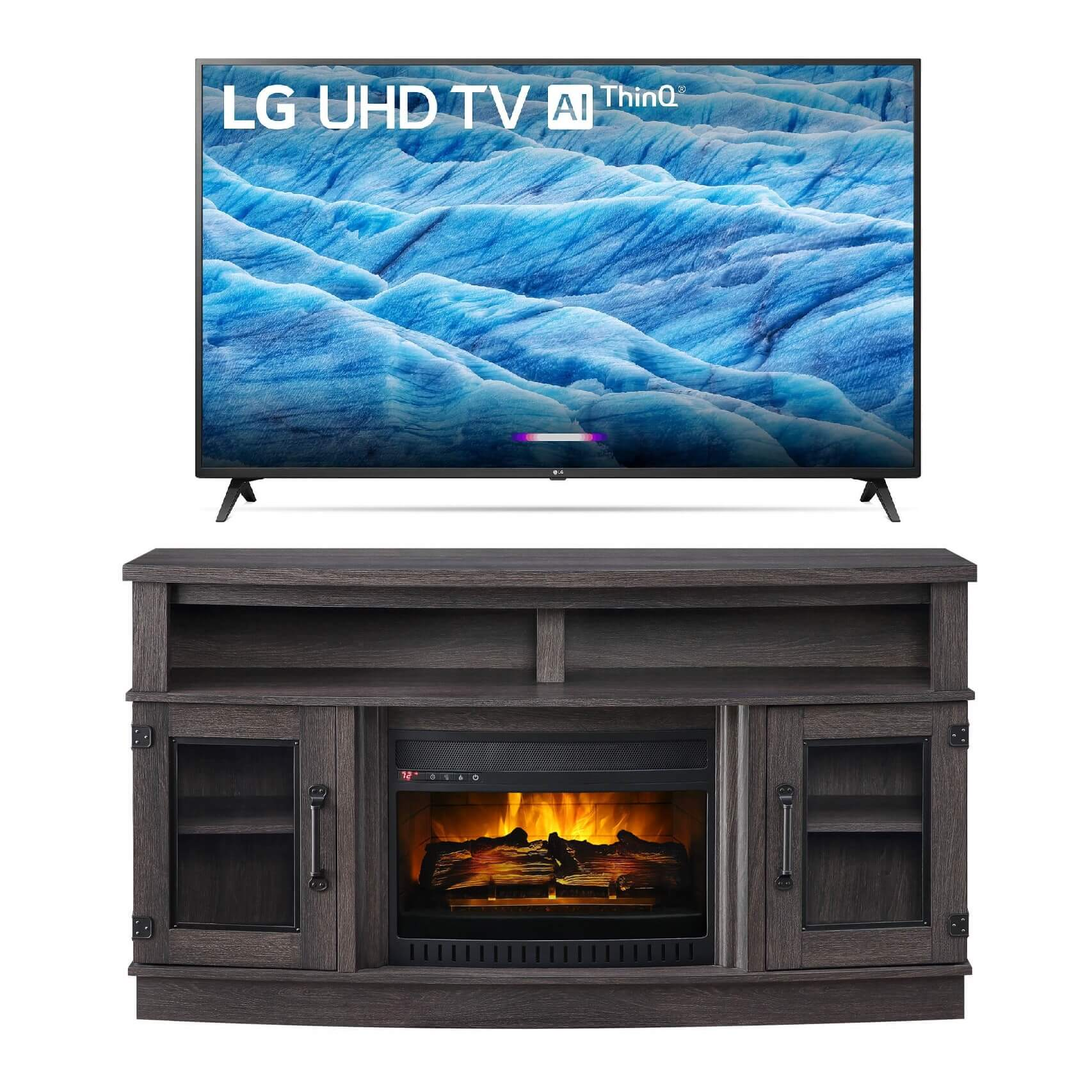 """65"""" Class Smart 4K UHD TV with 60"""" Fireplace TV Console"""