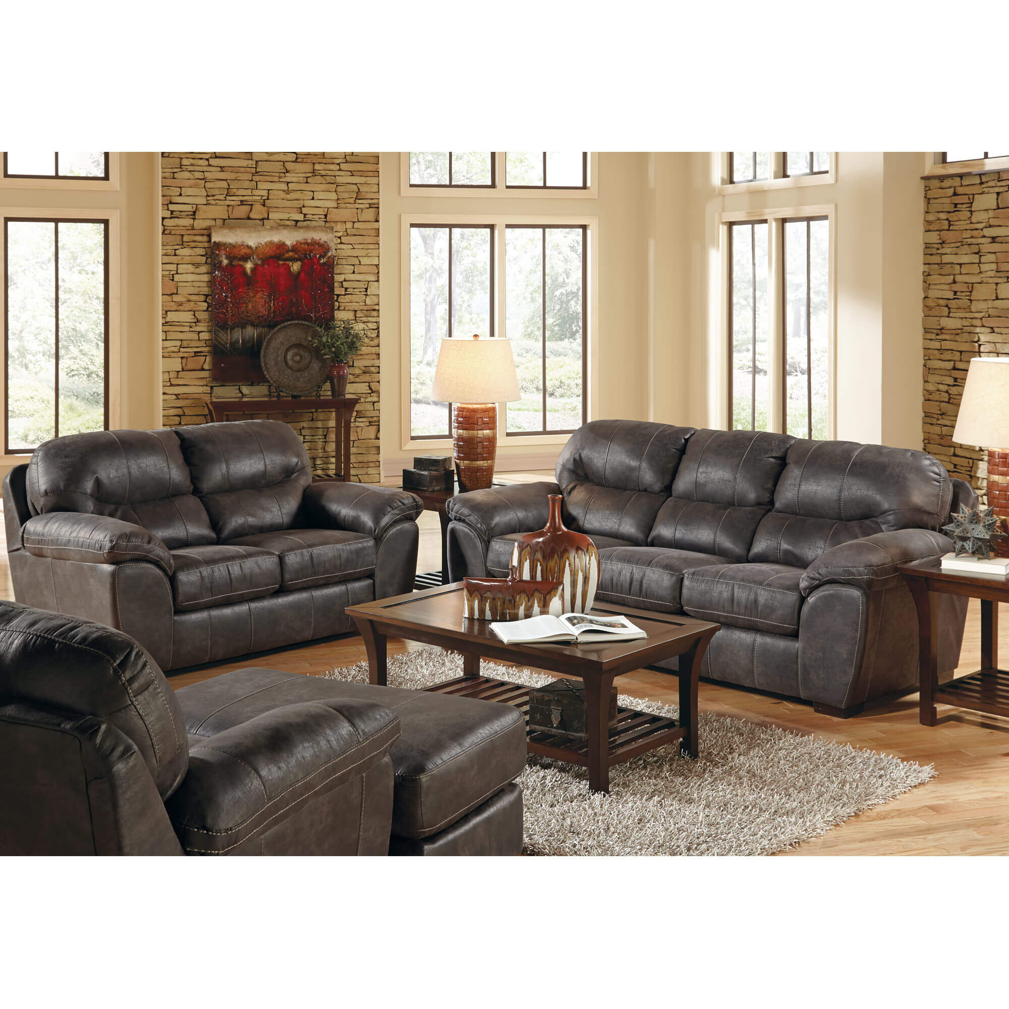 2-Piece Grant Steel Sofa and Loveseat