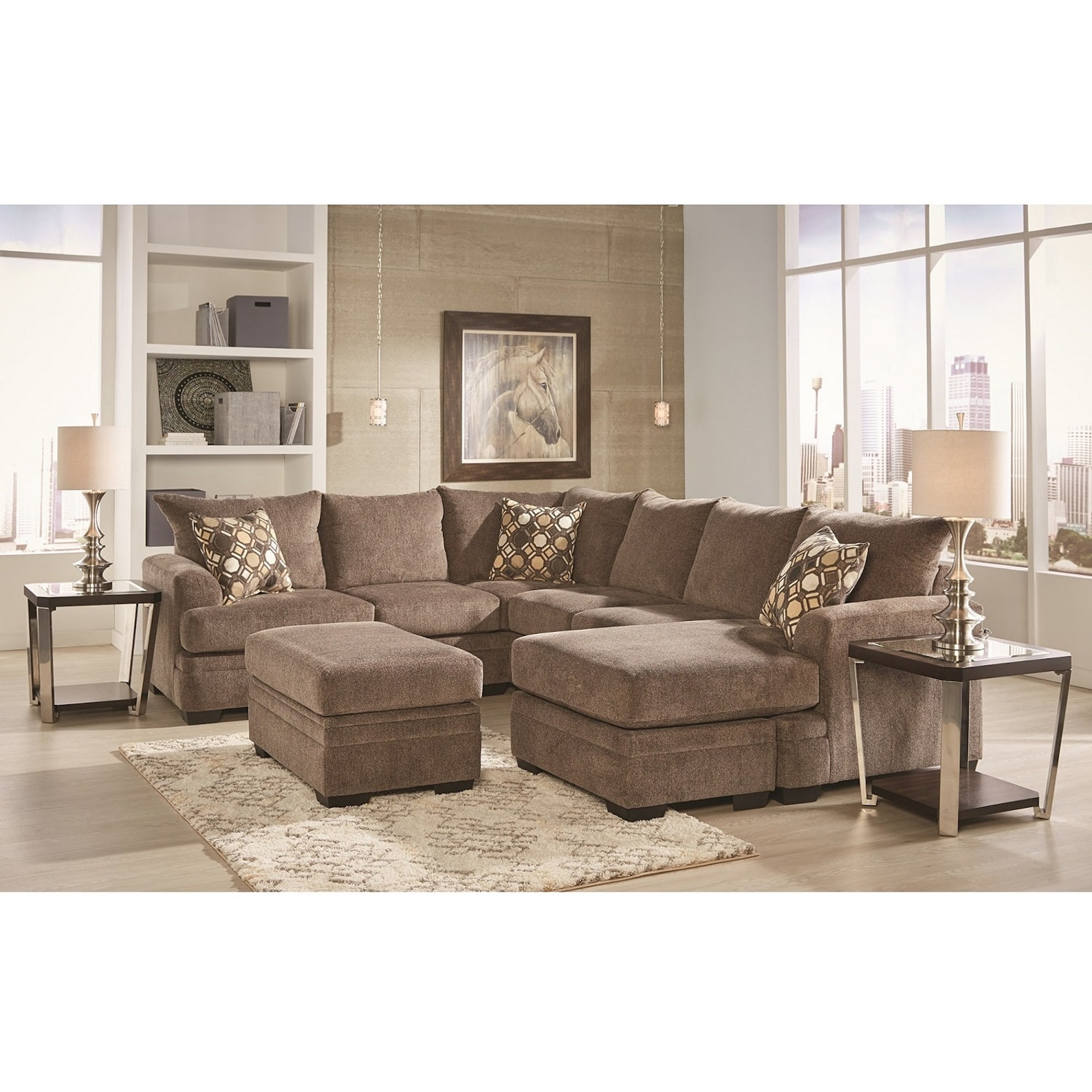3-Piece Kimberly Sectional Living Room Collection with Storage Ottoman