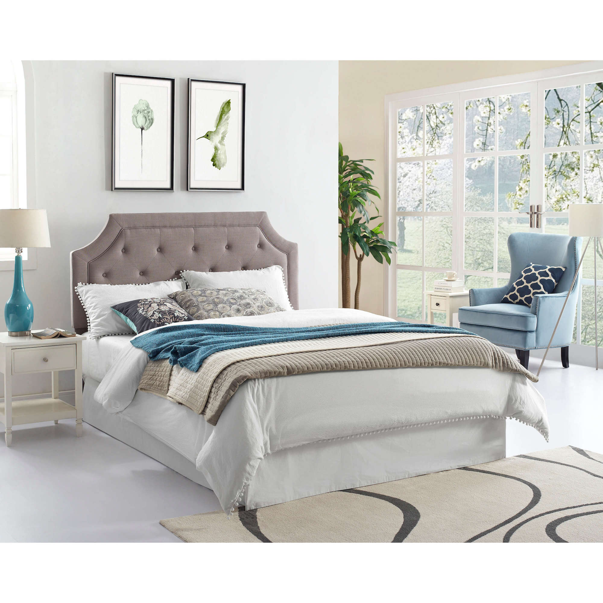 Rent To Own Crown Mark Inc Queen Grey Tufted Headboard With Pillow Top Mattress And Base At Aaron S Today