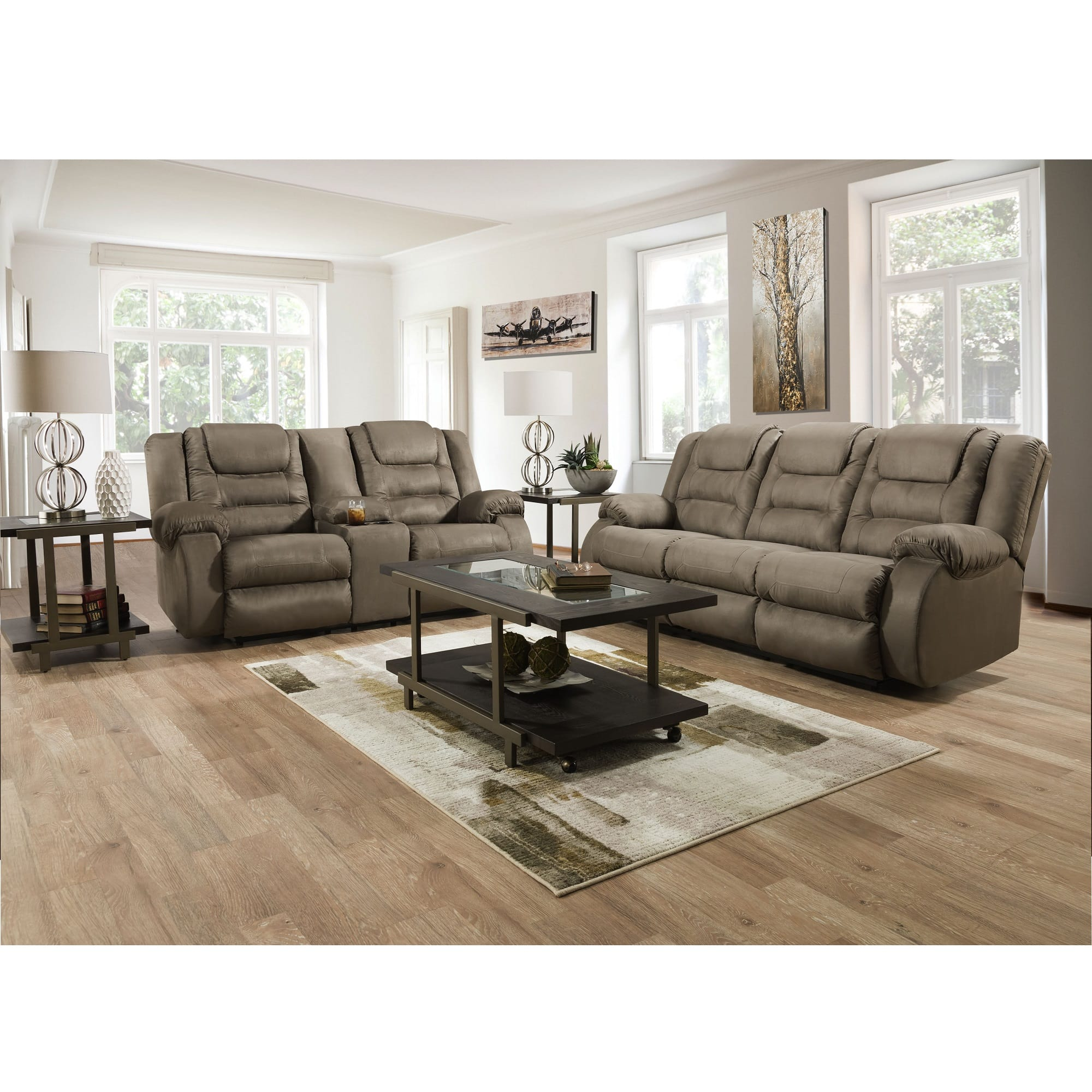 Rent to Own Ashley 10-Piece Sheridan Reclining Living Room