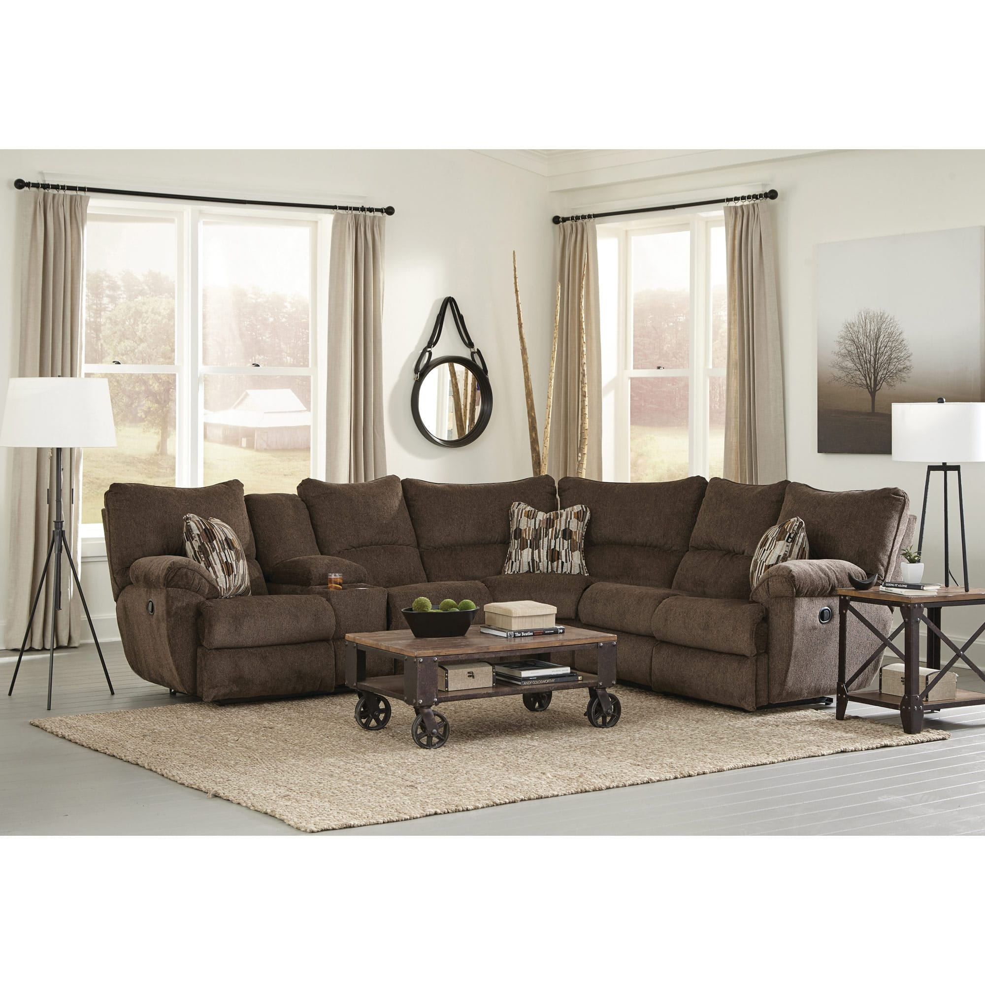 Outstanding Elliot Chocolate Lay Flat Sectional Squirreltailoven Fun Painted Chair Ideas Images Squirreltailovenorg