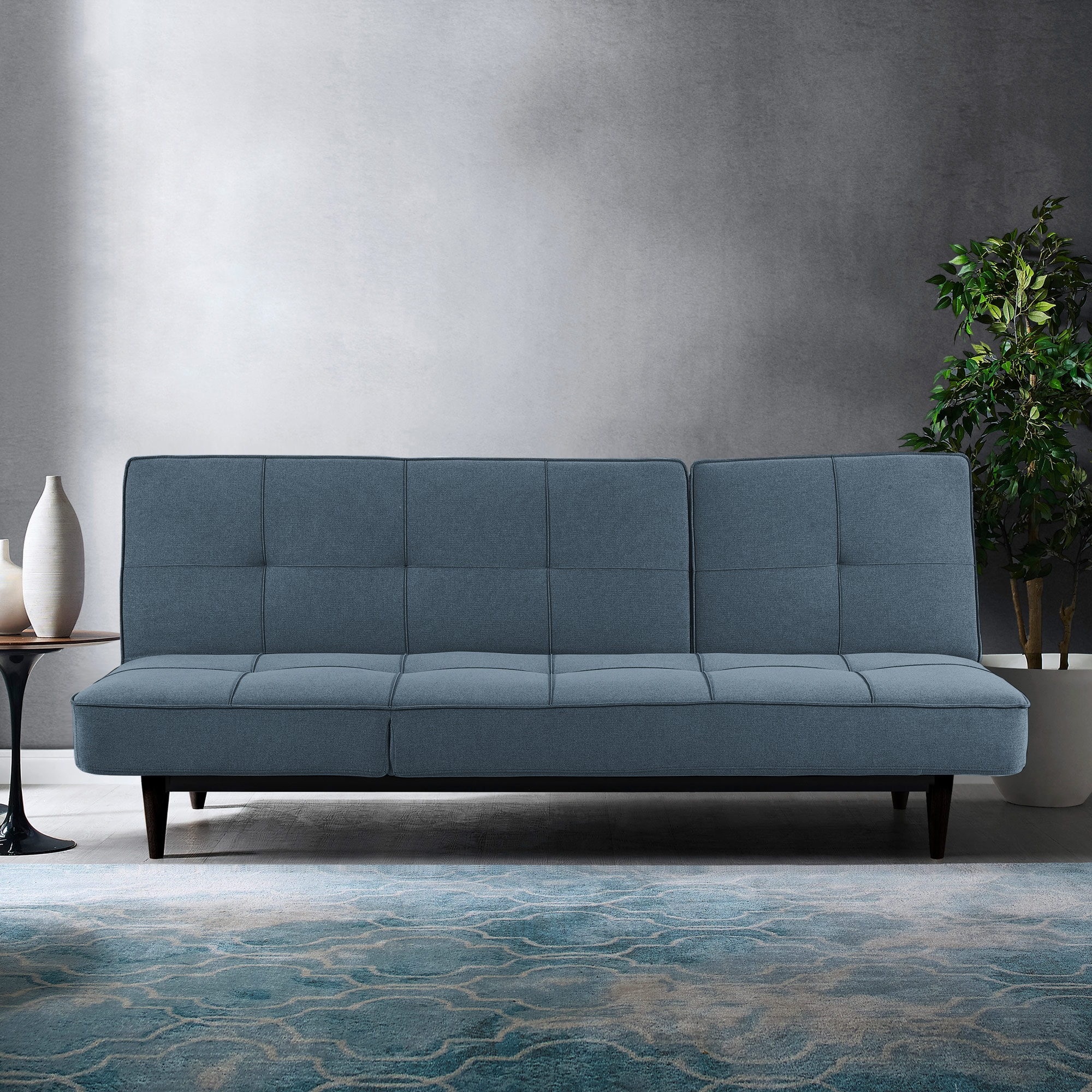 Russell Sydney Blue Triple Splitback Convertible Sofa with Chaise
