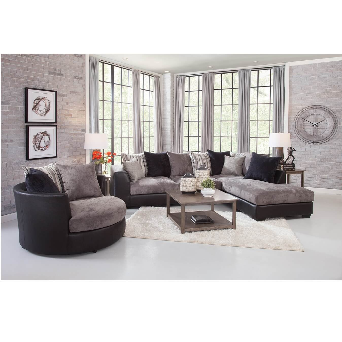 8-Piece Jamal Chaise Sofa Sectional Living Room Collection with Barrel Chair