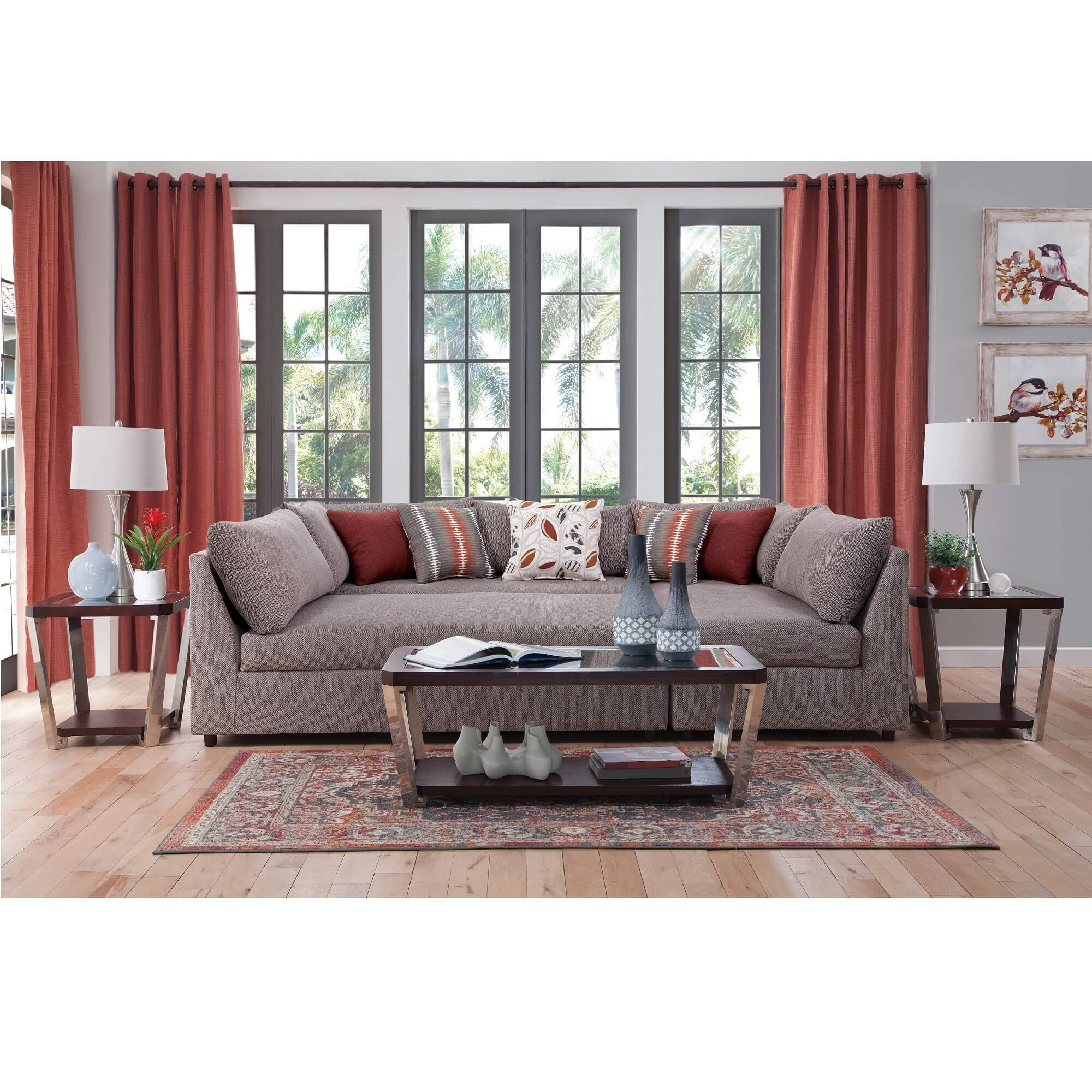 Picture of: Rent To Own Woodhaven 8 Piece Puzzle Chaise Sectional Sofa Living Room Collection At Aaron S Today