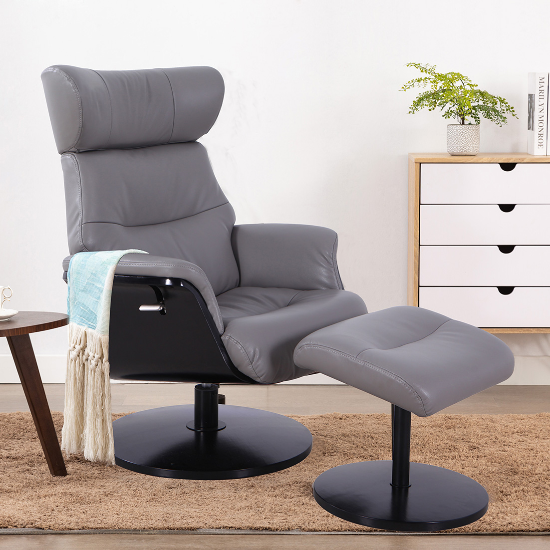Stockholm Leather Recliner & Ottoman - Steel