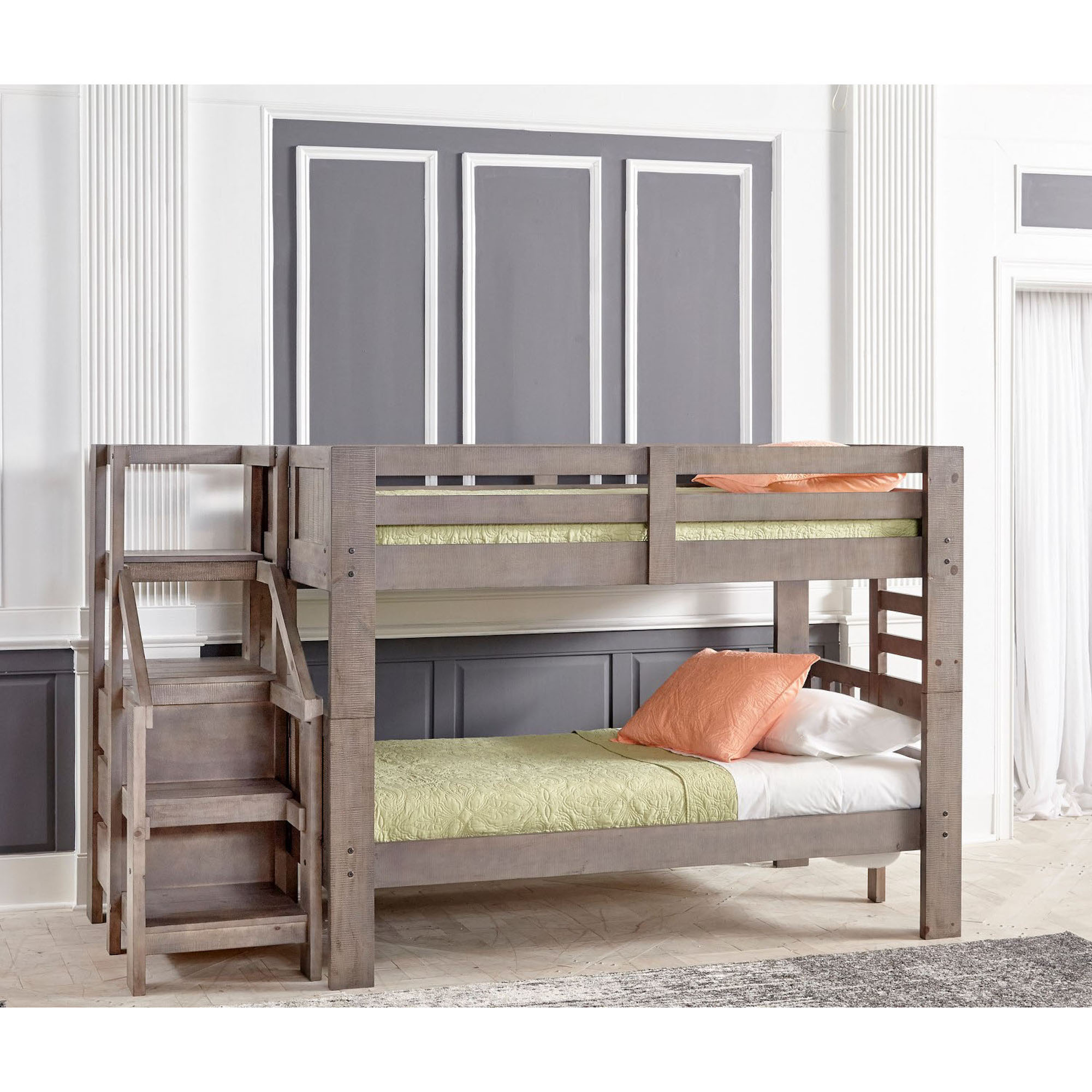 Picture of: Rent To Own Oak Furniture West 7 Piece Twin Bunk Bed With Staircase Mattress Set At Aaron S Today