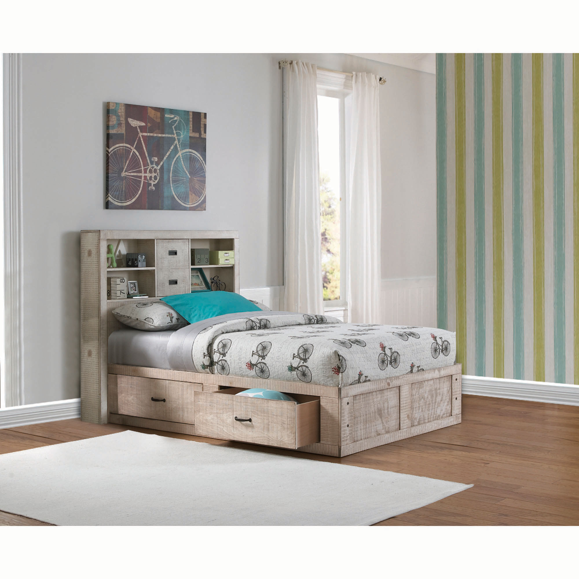 Rent To Own Oak Furniture West 6 Piece Captain S Youth Full Size Bed Mattress Set At Aaron S Today