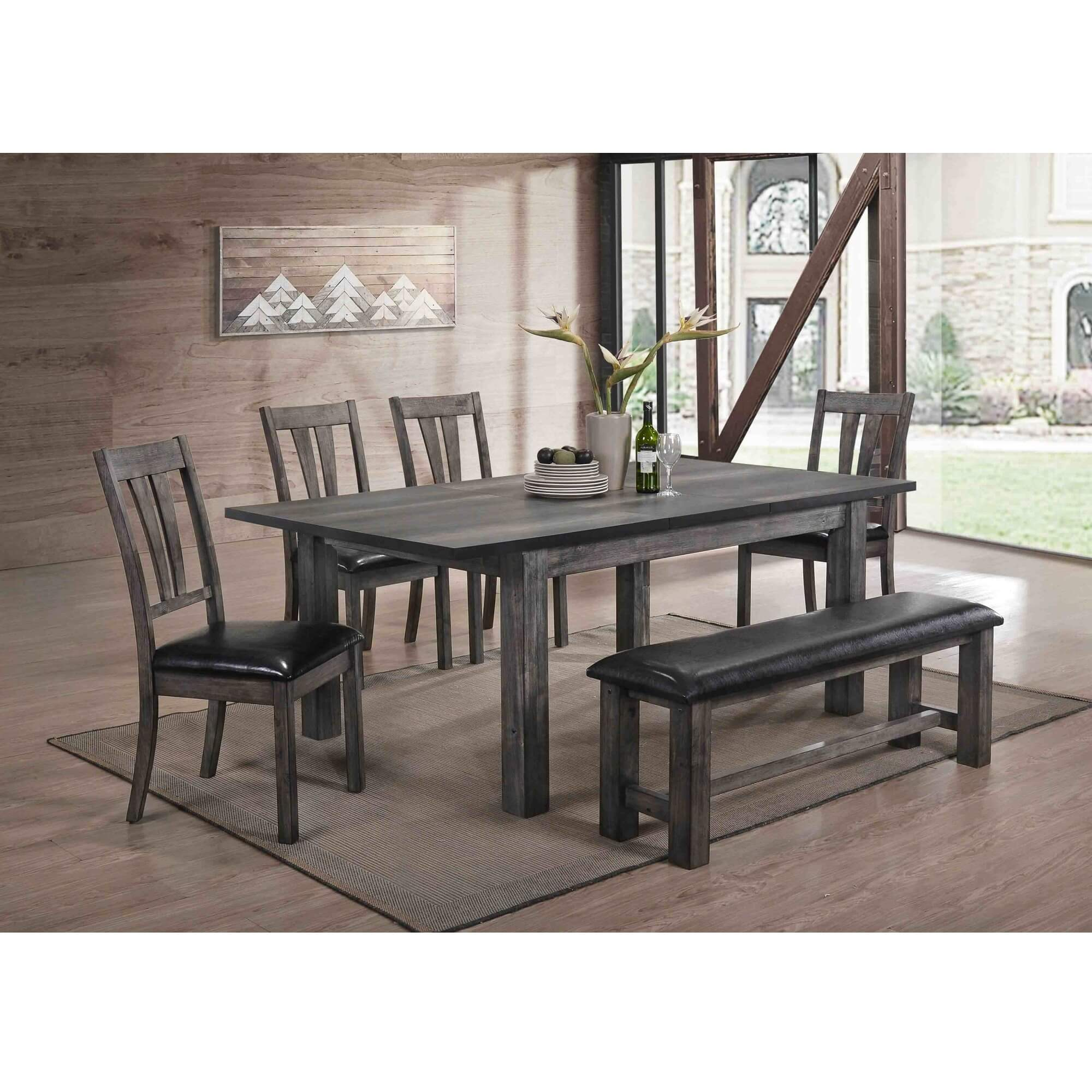 Rent To Own Elements International 6 Piece Nathan Dining Room Collection With Upholstered Chairs Bench At Aaron S Today