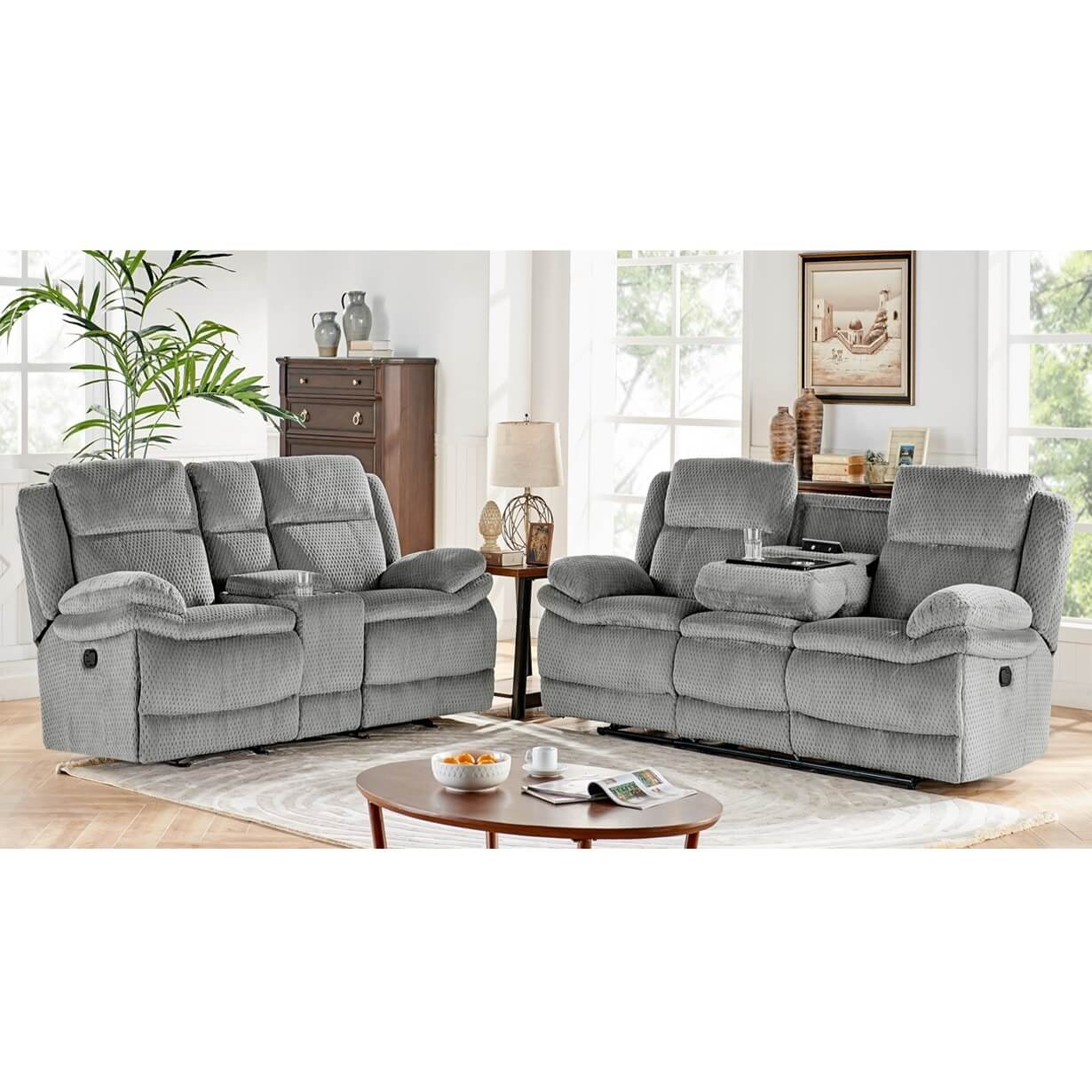 Picture of: Rent To Own H317 2 Piece Smokey Reclining Sofa Reclining Console Loveseat Set At Aaron S Today