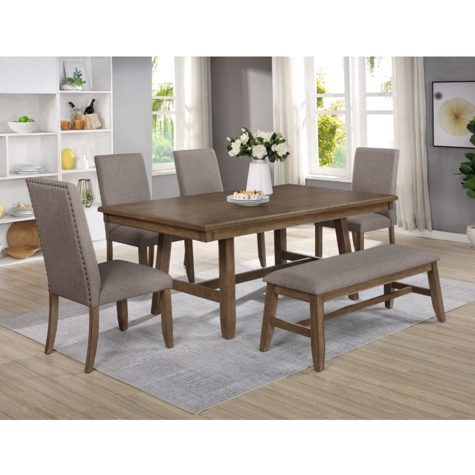 6-Piece Manning Dining Set with 4 Chairs & Bench